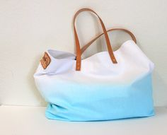 CANVAS TOTE BAGAquamarine with leather strapmedium by cocosheaven, $59.00