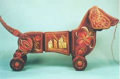 ornate vintage dachshie toy