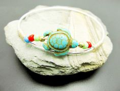 Turquoise Turtle Bangle Bracelet Sterling Silver by 4Everinstyle, $38.00