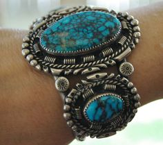 Vintage Cuff | A.R Tolino. (Navajo).  Sterling silver and Spiderweb turquoise.