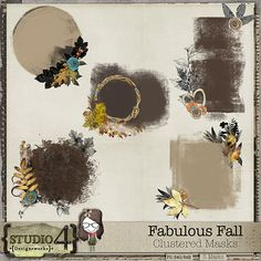 Digital Scrapbooking Studio Fabulous Fall - Clustered Masks - Here is a unique set of 5 clustered masks. They are all layered files, so you can mix and match, move elements around, or just use the mask as is. All elements are from the Fabulous Fall collection. Provided in your downloads are layered .psd files, tiffs and PNGs, so