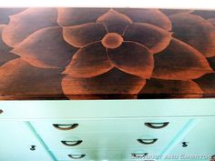Stained flower on buffet top wood art, buffet, artworks, diy tutorial, flower designs, stains, dressers, furnitur, flowers