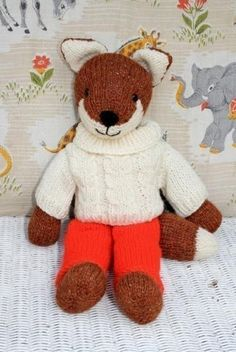 knitted fox with removeable clothes PDF email toy knitting pattern