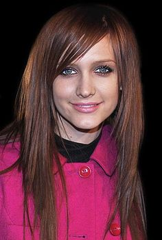 Long Choppy Hairstyle with side swept bangs