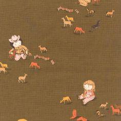 Fall Sale - Kokka Fabric Heather Ross Far Far Away 3 Girl and Horses Fabric Yardage in Brown - 1 Yard. $15.00, via Etsy.