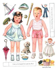 baby paper dolls, doll iv, twin babies, twins
