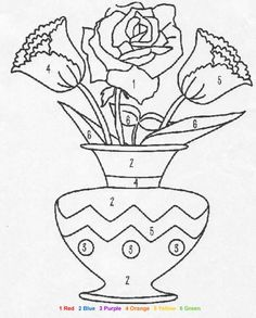 Color By Number Coloring Pages For Adults | NATURE Color by Number coloring pages - Flowers color by number