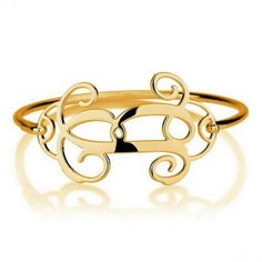Gold Over Silver Initial Bangle