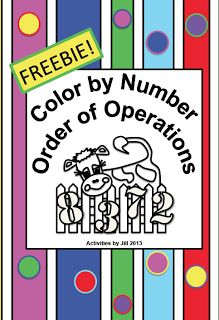 """FREE MATH LESSON - """"Order of Operations Color by Number  FREEBIE"""" - Go to The Best of Teacher Entrepreneurs for this and hundreds of free lessons.  5th - 8th Grade    #FreeLesson   #TeachersPayTeachers   #TPT   #Math   http://www.thebestofteacherentrepreneurs.net/2013/08/free-math-lesson-order-of-operations.html"""
