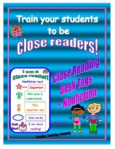 FREE for a limited time! Close reading desk tags or bookmarks with directions for beginning close readers!!