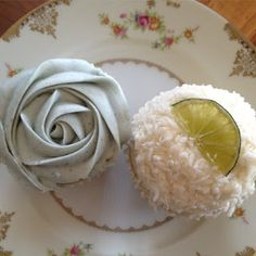 the owlery (bloomington, indiana) : lavender cupcake & coconut lime cupcake.