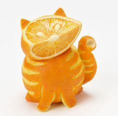 Cat made out of Fruit home grown, tabby cats, cheshire cat, orange you glad, cat food, orange cats, fruit art, food art, parti