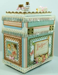 Andrew Roberts' favorite G45 collection is Little Darlings which he uses to make this adorable altered keepsake chest! The lid opens to reveal a shadowbox-style lid that contains trinkets and handmade embellishments! #graphic45