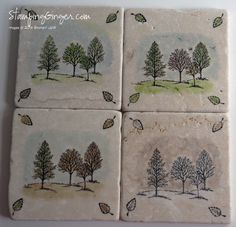 4-Season Tile Coasters with Lovely as a Tree stamp set.