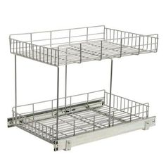 KITCHEN STORAGE: Home Depot  Real Solutions Half-Shelf Rollout in Frosted Nickel  Model # HSR15-R-FN Internet # 202808825    (1)  Write a Review  $79.99 /EA-Each