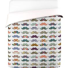 Mustache Duvet Cover Queen now featured on Fab.