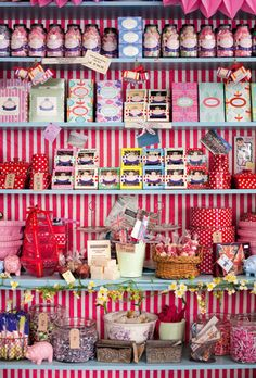 shelves full of baked gifts in cute boxes & take-home items