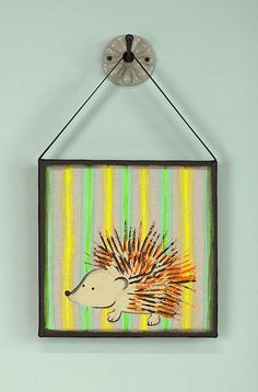 Porcupine DIY Wall Art from DecoArt- what a fun way to decorate a child's room! | AllFreeKidsCrafts.com