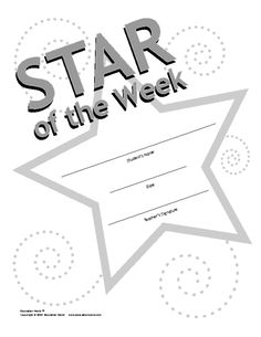 Star of the Week Award Template