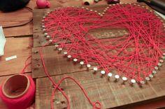 decor, wall art, anniversary, string heart, crafti