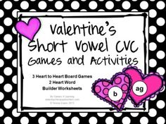 Valentine's Short Vowel CVC Games and Activities is from Games 4 Learning. It is loaded with Valentine's phonics fun with short vowel CVC words. $