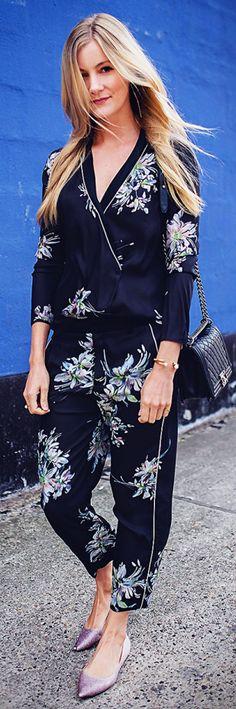 Black Multi Floral Pajama Suit