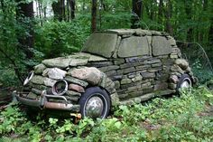 vw beetles, yard, vintage cars, vw bugs, rock, sculptur, old cars, stone art, garden