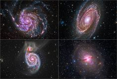 Professional and amateur astronomers combined forces, and data, to produce these beautiful composite images of four galaxies.  Image credit: NASA, Detlef Hartmann, and Rolf Olsen.