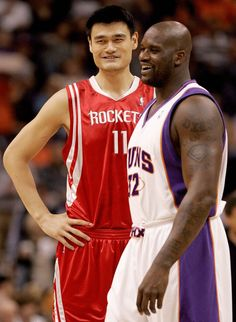 """Yao Ming makes Shaq look short, and he's 7'1"""".  Yao is 7'6""""."""