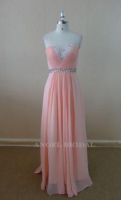 Sweetheart Sash Beaded  Light Pink Evening dress Bridesmaid Dress prom Dress on Etsy, $120.00