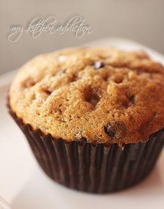 Chocolate chip toffee banana muffins