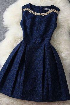 Fashion Blue Beading Rhinestone Embroidered Dress Party Dress