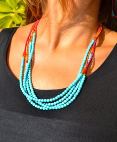 Four Strand  Colorful Asymmetrical Necklace by uniquebeadingbyme, $45.00
