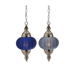 Deep Blue Cupola Beaded Pendant Light - Set of 2