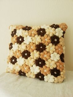 14 x 14  Brown and beige  floral baby  pillow cover  by NesrinArt, $25.00