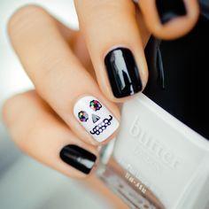 skulls, nailart, butter london, nail arts, sugar skull, beauti, skull nail, hair, halloween nails