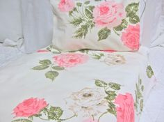 American Girl Doll Bedding- Vintage style Rose Sheet set with pillow-Pinner had this idea, to take vintage sheets with roses on them and make doll sheets, etc. with them. I think mom and grandma would appreciate looking at a doll bed decorated with fabrics they love!