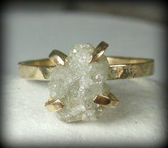 3.5 carat White Rough Diamond and Yellow Gold engagement ring, raw diamond gemstone ring, solid gold wedding ring on Etsy, $590.00