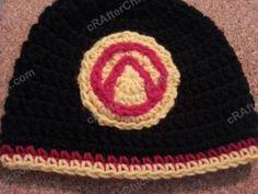 Borderlands Video Game Vault Symbol Appliqued Hat Crochet Pattern free video game inspired geek beanie hat crochet pattern from cRAfterChick...