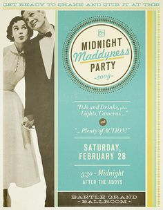 party invite parti invit, graphic design, color, vintage, party invitations, jordan, parties, poster, mad men