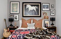 grey walls, horse pictures, pattern, gray walls, gallery walls, horse paintings, picture frames, artwork, bedroom