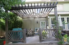modern Pergola, with canvas drop cloths (4x15) and string lights http://www.anythingpretty.com/2010/07/buying-fabric-at-hardware-store.html