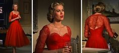 """Edward Carrere dresses Grace Kelly in """"Dial M for Murder"""". Every stitch of clothing she wears in this film is immaculate.The red dress is exceptional. It is not a colour that Grace wore in her personal life, although it certainly was becoming on her !"""