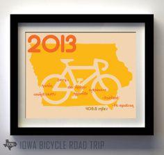 2013 Iowa Bicycle Road Trip Route - Iowa Themed print by Texowa Designs