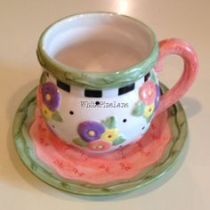 Mary Engelbreit April Flowers Tea Cup and Saucer 2001 Retired, Hard to Find