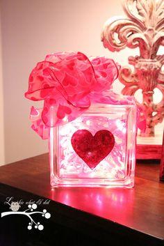 Glittered Heart Glass Block