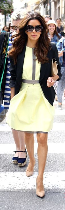 hair colors, cloth, blazer, fashion styles, outfit, the dress, street styles, eva longoria, yellow dress