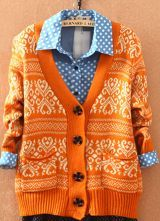 Orange+Long+Sleeve+Tribal+Print+Cardigan+Sweater+$33.28