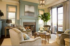 decor, blue rooms, living rooms, black doors, living room ideas, color blue, colors, painted fireplaces, live room