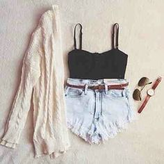 simple bandeau paired with light washed high-waisted shorts and a beige cardigan